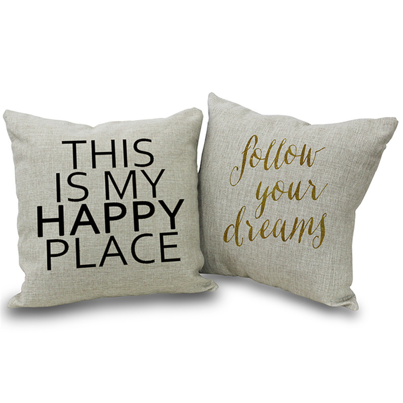 Large Throw Pillow Cover Simple Fashion Linen Cotton Writing Cushion For Bed 45x45cm Square Cushions In From Home Garden On