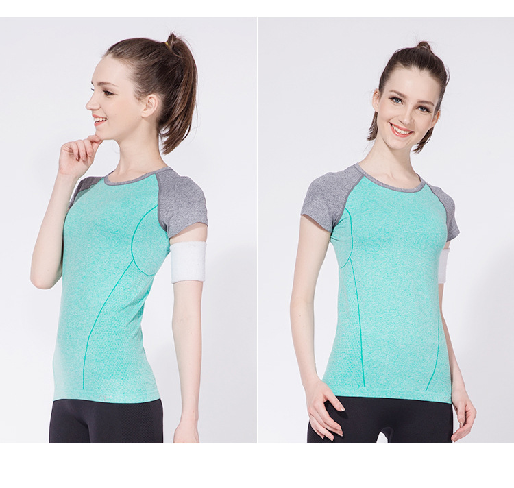 2016 Womens Fitness Jump Hold O-Neck T-shirt Running Yoga Round Neck Clothes Quick-drying Perspiration Sports Tees