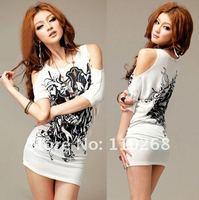 бесплатная доставка новые стильные офф-плечи мини платье, граффити женщины с футболка, полурукав белый печать платье для клуба