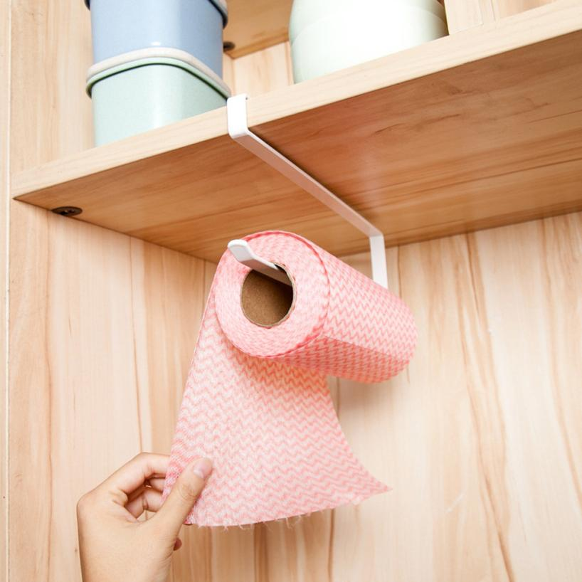 buy creative hanging under cabinet paper towel holder roll paper towel rack stainless metal organizer kitchen cabinet storage rack from