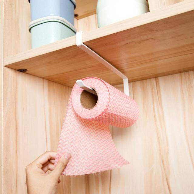 Creative Hanging Under Cabinet Paper Towel Holder Roll Paper Towel Rack  Stainless Metal Organizer Kitchen Cabinet