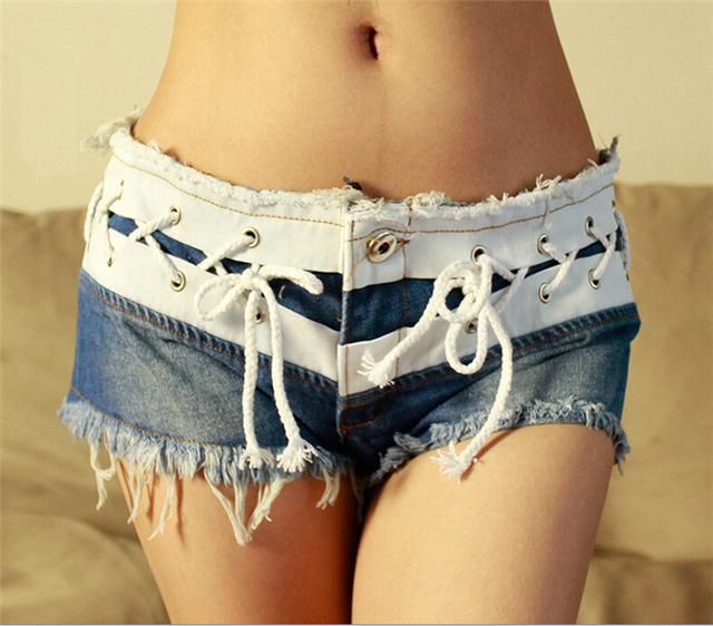 Mulheres Sexy boate quente desgaste Super curto cintura baixa Skinny Jeans Shorts verão magro Washed Blue Jeans Bottoms curtas NZ023