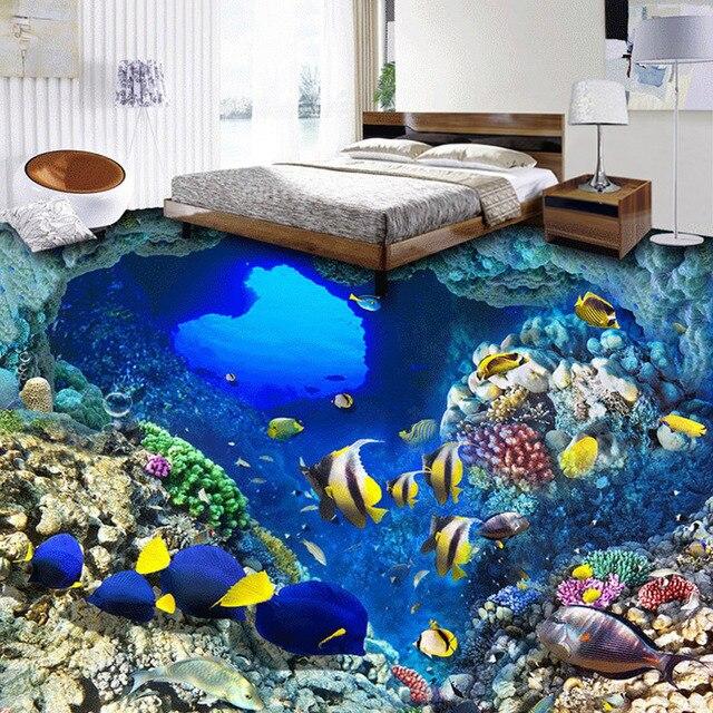 Custom 3D Foto Behang Onderwater Wereld Tropische Vis Vinyl Vloer ...