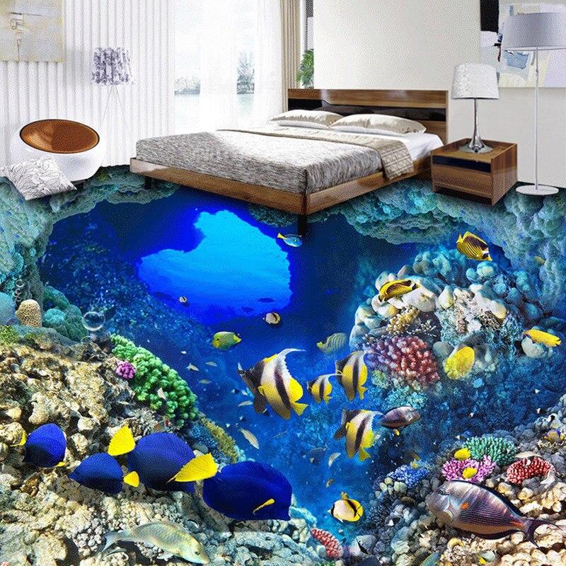 Custom 3D Photo Wallpaper Underwater World Tropical Fish Vinyl Floor Stickers Bathroom Waterproof Self-adhesive PVC Floor Mural