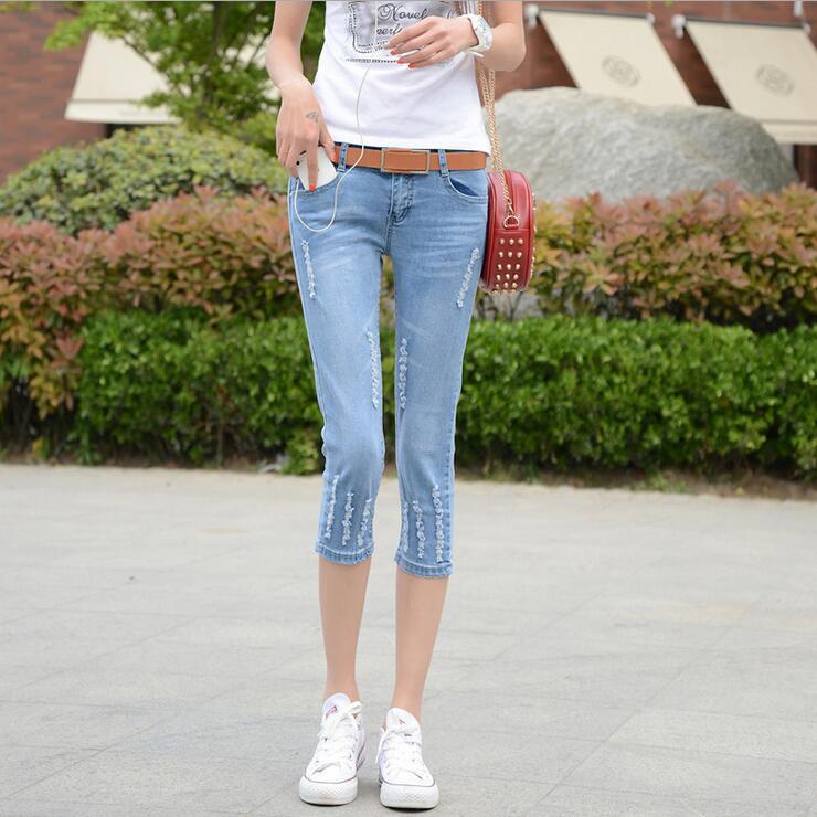 #3236 Ripped Calf-length denim pants Elastic 2016 summer Korean Skinny Pantalon jean femme Ripped jeans Short jeans feminino