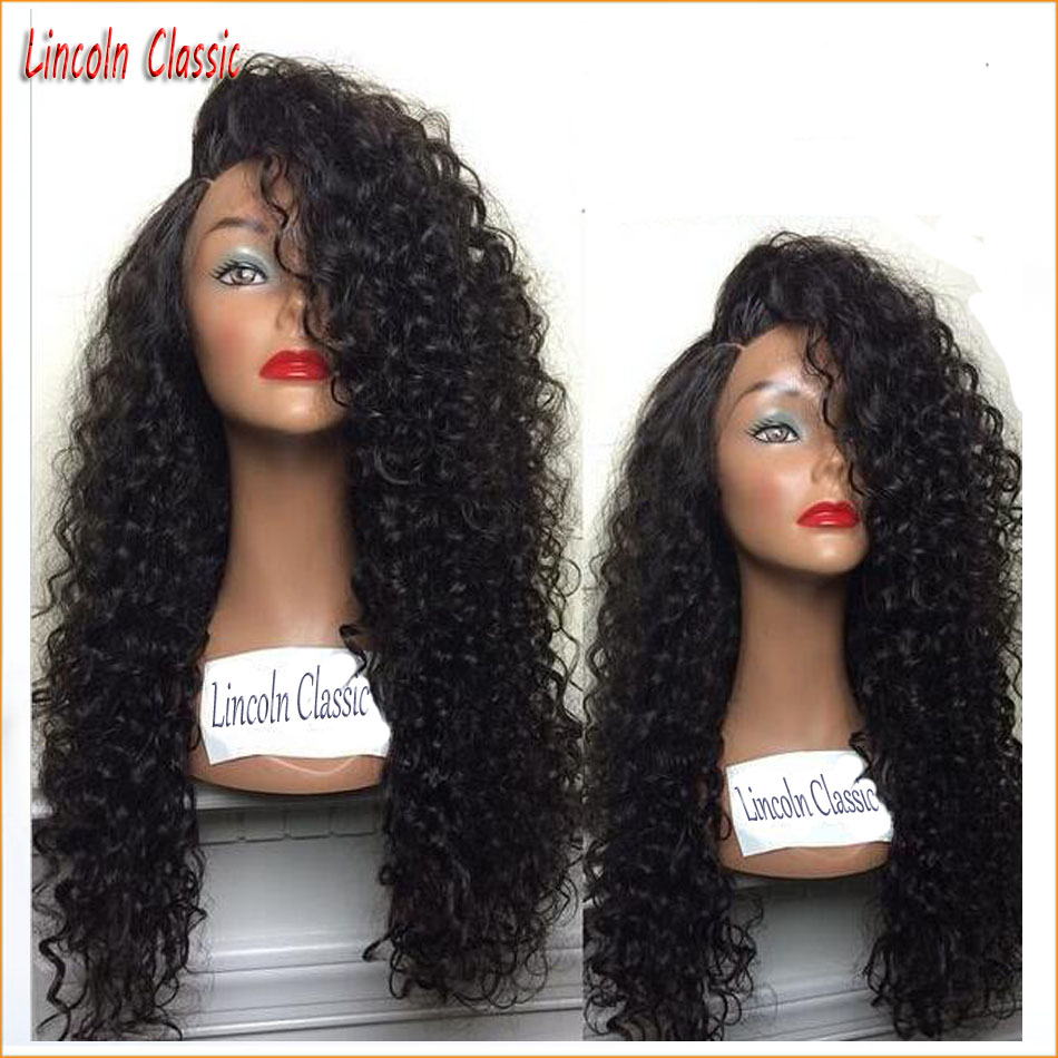 Best Soft 150 Density Human font b Hair b font Kinky Curly Wig Full Lace Brazilian