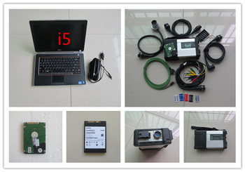 newest super mb star c5 with hdd software with laptop for dell e6420 i5 cpu 4g with battery diagnostic tool ready to use