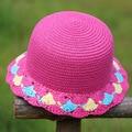 2016 Spring new pretty baby girls paper straw hat children crochet  flower sun hats summer cap kids beach hat child bucket hat