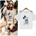 Fashion pure cotton short sleeved European style women's Cartoon mouse T shirt Hollow Out female plus size t-shirts loose tops