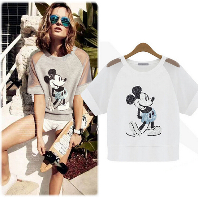 d5693024 Fashion pure cotton short sleeved European style women's Cartoon mouse T  shirt Hollow Out female plus