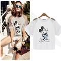 Moda de algodón puro corto manga mujeres del estilo europeo de ratón de dibujos animados camiseta ahueca hacia fuera para mujer de talla grande camisetas sueltas tops