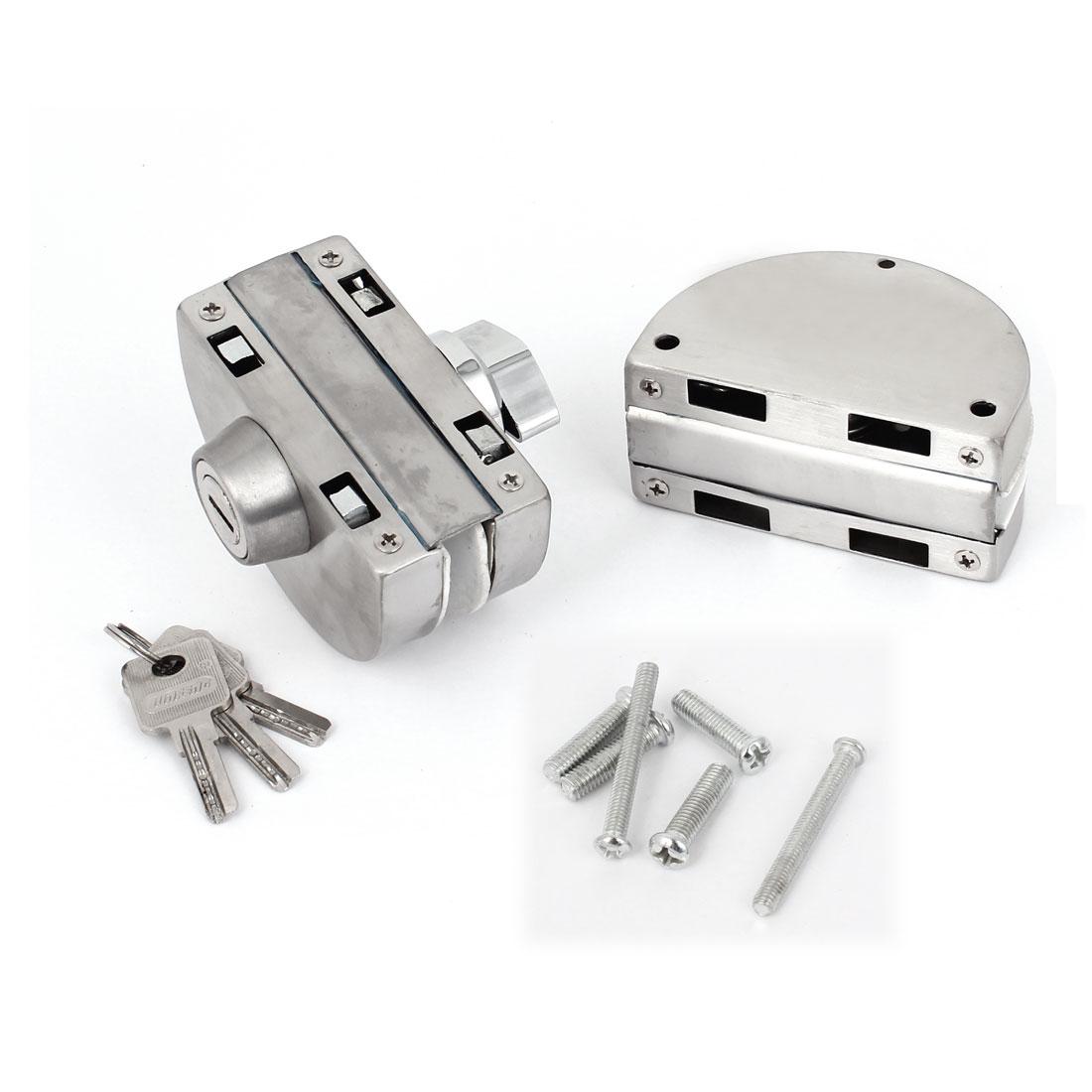 ФОТО UXCELL Main Material Entry Gate Dual Bolt 10-12Mm Swing Push Sliding Glass Door Lock W Keys Metal