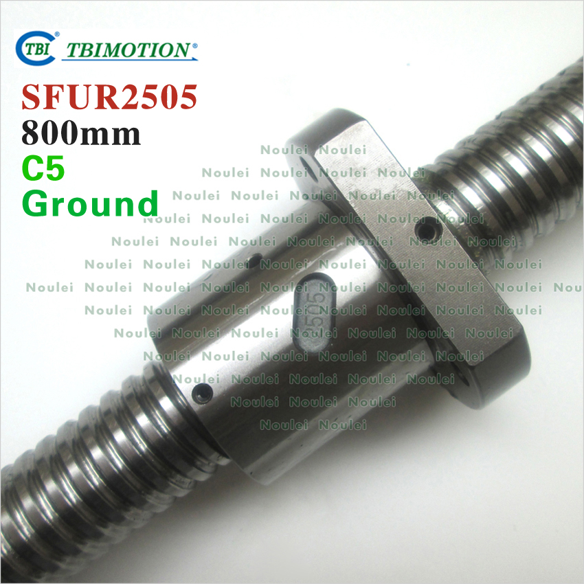 TBI  800mm ball screw 2505 C5 5mm lead Ground with SFU2505 ballnut + end machined for CNC kit tbi 1605 c3 400mm ball screw 5mm lead with sfu1605 ballnut ground for high precision cnc diy kit of taiwan