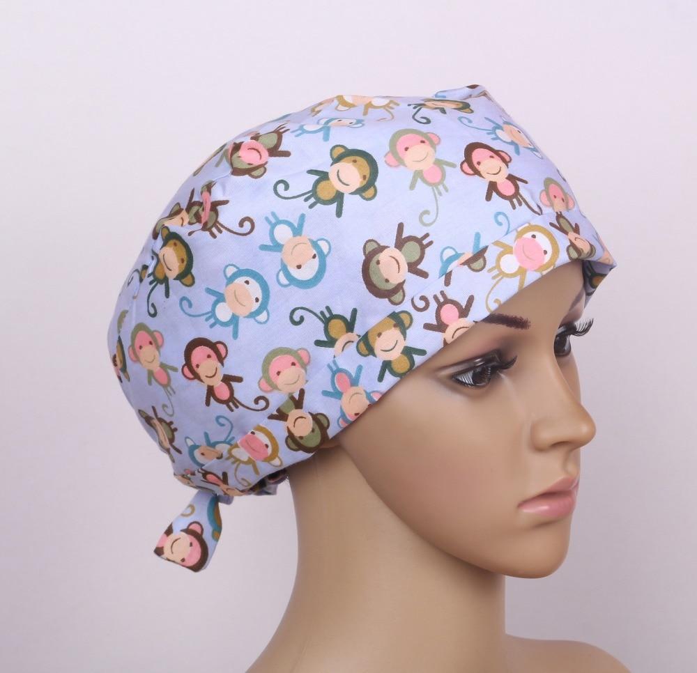 medical scrub caps with monkey pattern