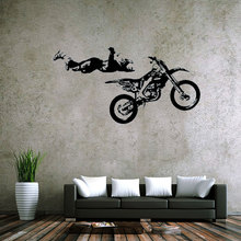 Sports Theme Wall Decals MOTO Style Extreme Racing Cool And Stunt Motorcycle Racer Sticker For Livingroom Home And Office Decor(China)