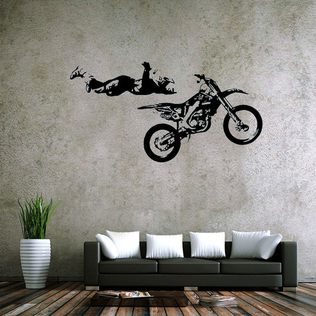 Superb Sports Theme Wall Decals MOTO Style Extreme Racing Cool And Stunt  Motorcycle Racer Sticker For Livingroom