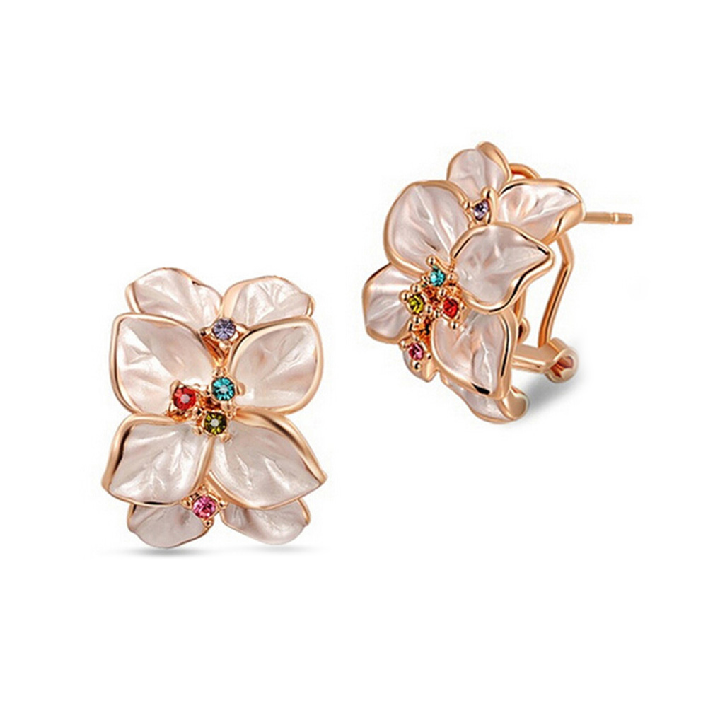 Free Shipping High Quality Gold Color Earrings Gardenia Crystal Clip On Earring  Fashion Costume Jewelry Earing