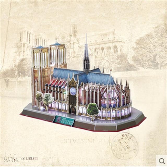 Cubicfun 3D Puzzle Toy Paperboard Handmade Notre Dame De Paris LED Puzzle 3D Model, Educational Toys For Kids, Christmas Gifts