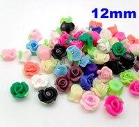 100 шт./лот смешанный разных цветов 12 мм роза в форме полимерная глина бусины цветок