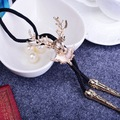 Vintage Western Style Cowboys Elk Necklace Pendant Mens Jewelry Nylon Gold Milu Deer Head Decoration Bolo Tie Party Neckwear