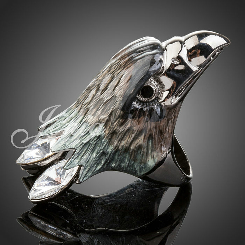 Jenia Fashion White Gold Plated Austrian Crystal Jewelry Eagle Ring for Mens and Women XR003