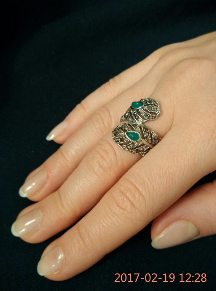 Винтажное кольцо с зелеными камнями с Алиэкспресс