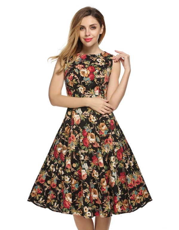ACEVOG Women Dress Retro Vintage 1950s 60s Rockabilly Floral Swing Summer Dresses Elegant Bow-knot Tunic Vestidos Robe Oversize 13