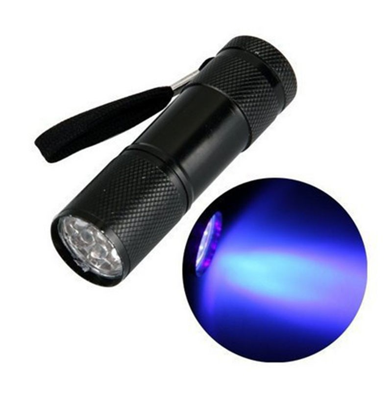 Kualitas tinggi Hitam Mini Aluminium Portabel UV Ultra Violet Blacklight 9 LED uv Senter Torch Light Lampu Gratis Pengiriman