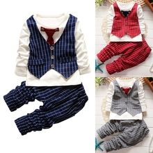 2Pcs Gentleman Cotton Outfits Baby Boys Suit Long Sleeve Striped Tops Shirt + Pants