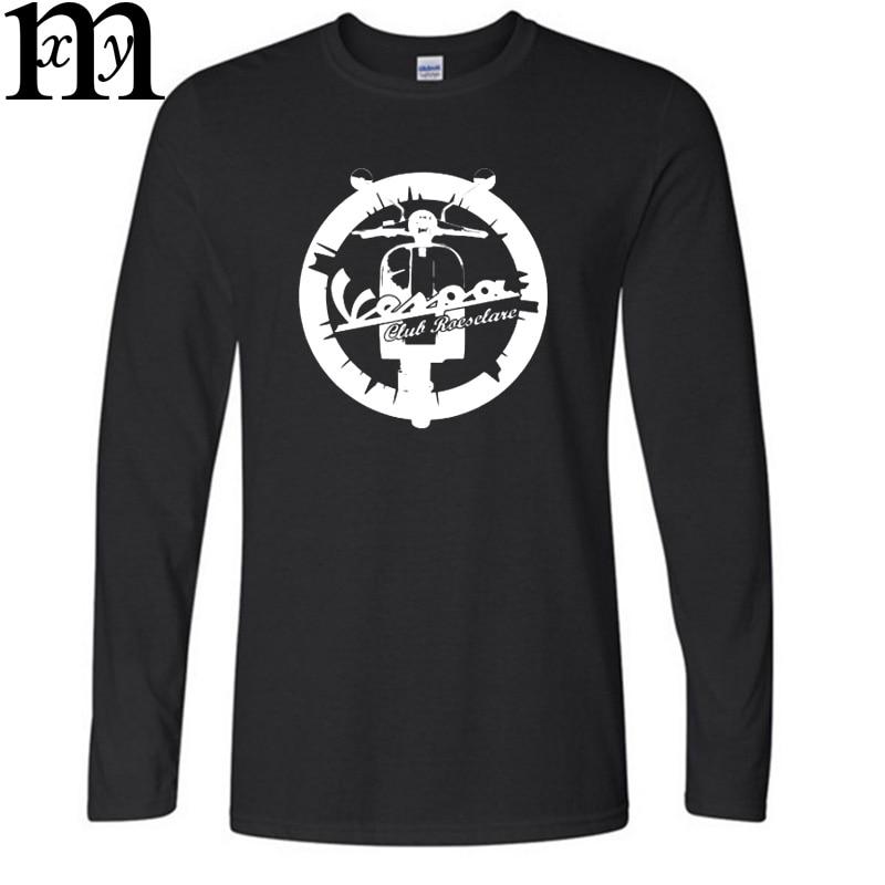 2016 New Fashion Vespa vintage motorcycle Logo Printed Cotton High quality Men Hip Hop Autumn and winter T shirt Tees Mens Cloth - intl