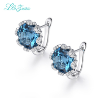 925 Sterling Silver Natural Topaz Blue Stone Elegant Clip Earrings Beautiful Flower design For Woman Fashion Jewelry Gift