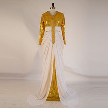 2016 New Fashion Gold Prom Dresses Long Sleeves Sequin Dress Abaya in Dubai Muslim Evening Dresses Moroccan Kaftan Dubai