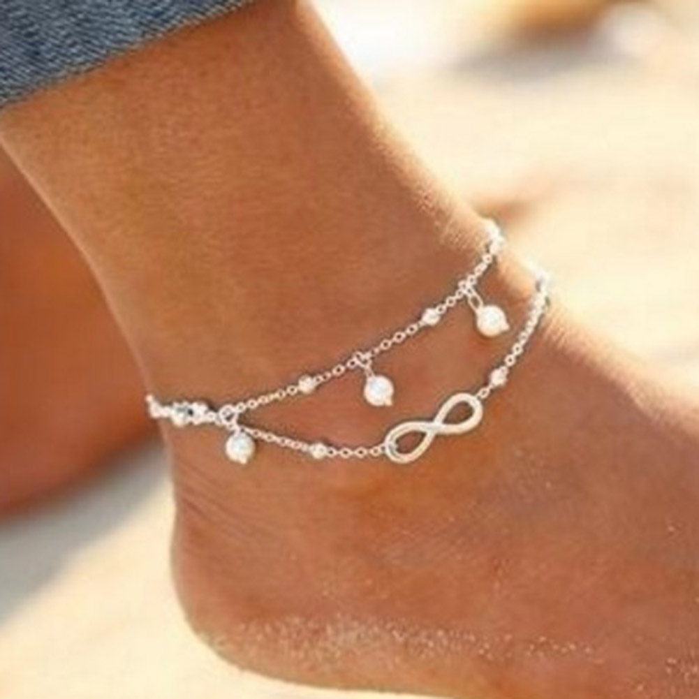 2017 Summer Hot Simulated pearl Beads Anklet For Women elegant Chain Tassel Lovely Girl Barefoot Sandal Anklets 1 piece