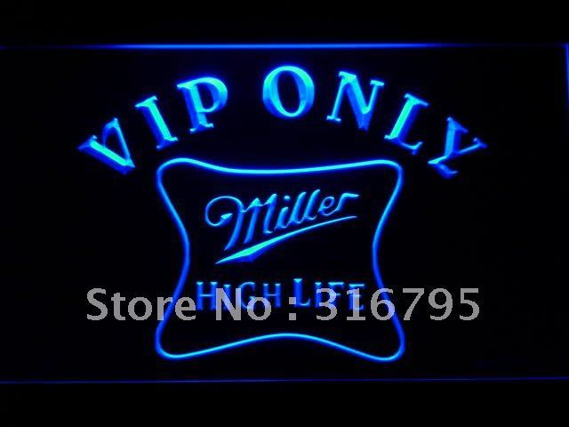 435 VIP Only Miller Hight Life Beer LED Neon Sign with On/Off Switch 7 Colors to choose