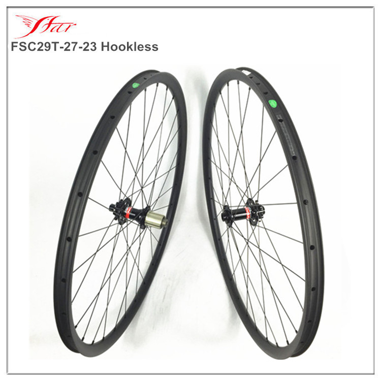 Spor ve Eğlence'ten Bisiklet Tekerleği'de Kancasız dağ bisikleti jantlar 29er (700C)  farsports karbon MTB bisiklet tekerlek 27mm x 23mm 28 H UD mat Novatec hub ile