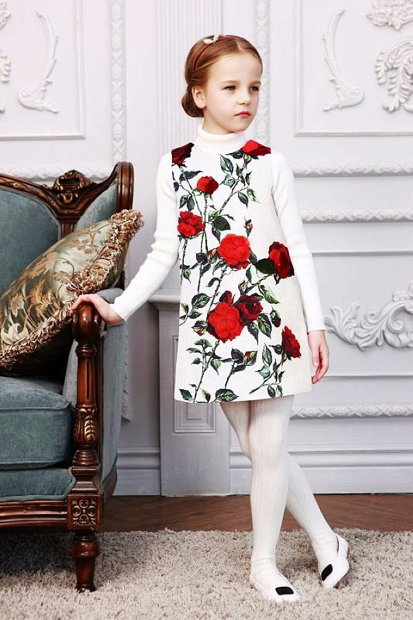 WL.Monsoon Girls Dresses Winter Brand Rose Flower Princess Dress for Girls Clothes Dobby Children Dresses Kids Clothes