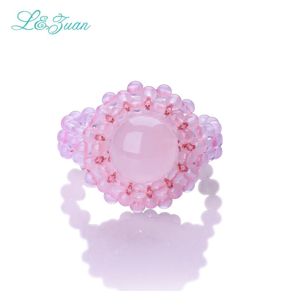 l & zuan křišťálové prsteny pro ženy ručně vyráběné 100% přírodní růžová růže křemenný prášek krásné romantické jemné šperky princezna prsten 2301
