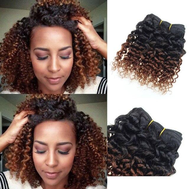 Brazilian Hair Weaving Ombre Kinky Curly Hair Weave Short Human Hair