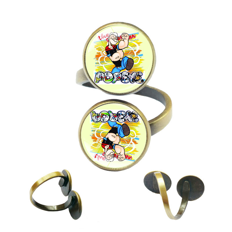 Popeye the Sailor Man Spinach Classic Cartoon Adjustable Rings for Women Accessories for Women Top Quality Lovers Rings
