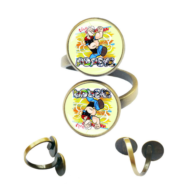 popeye the sailor man spinach classic cartoon adjustable rings for