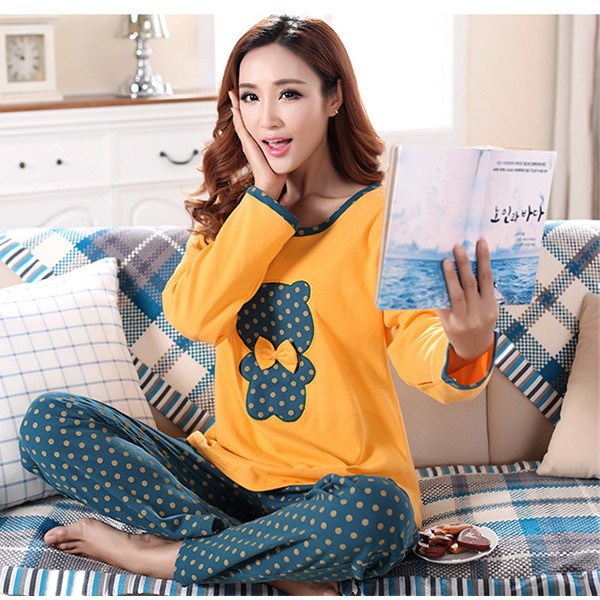 Hot Sale Cute Beer Autumn winter cotton pants female pajamas women pyjamas  sleepwear pijamas mujer womens tracksuits S0070 f15390a15