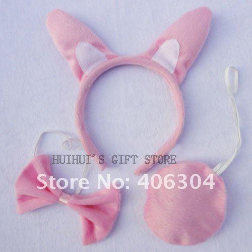 Набор животных(повязка на голову, галстук-бабочка, хвост)/серовидная Повязка На Голову/праздничная одежда/лента для волос с животным/животным головной убор
