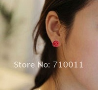 бесплатная доставка - дешевые корея стиль оптовая продажа милой улыбкой лицо дизайн пластиковых смола серьги, смешанные цвета упакованы в карты