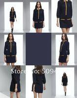 бесплатная доставка мода колледж стиль повар ударил-цвет блокировки Mosaic стоит рубашки с длинным рукавом женская рубашка платье-блузка