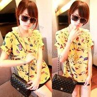 свободного покроя женщины красочные птицы шифон batwing с коротким рукавом блузка широкий fashiont футболка ти топы 2 цвета желтый, бежевый 5640