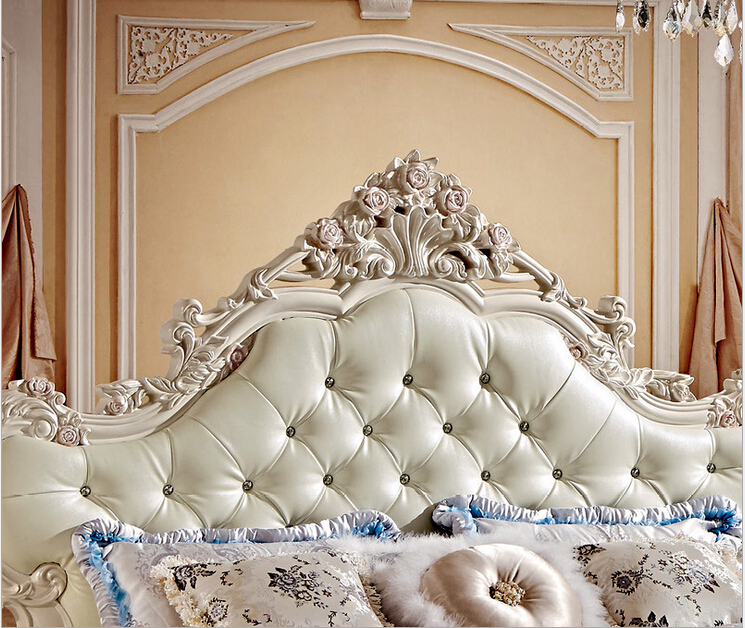 Estilo francés blanco perla cama con caja de almacenamiento 8866 en ...