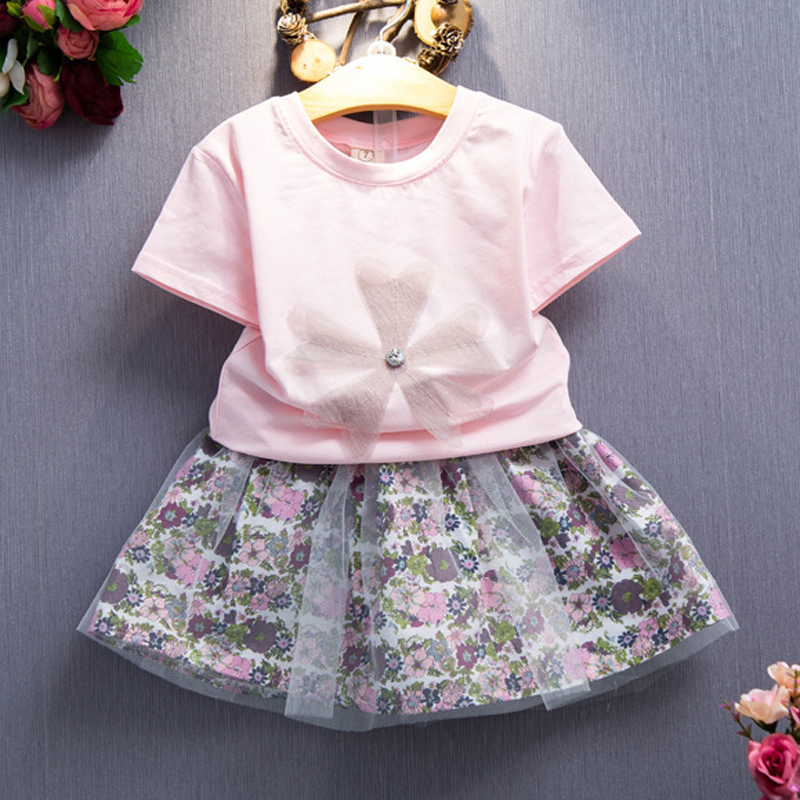 dede68e4a481 2Piece/2-6Years/Summer Fashion Boutique Kids Clothing Sets Cute T-shirt+Flowers  Skirt Baby Girls Outfits Children Clothes BC1086