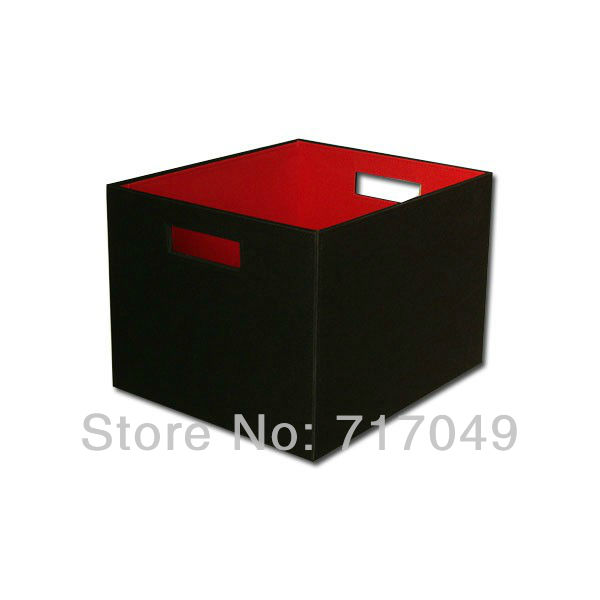 PVC Faux Leather Storage Bin With Handle