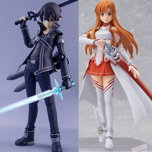 2Pcs/set 15CM Anime Sword Art Online Kirito kirigaya kazuto Yuuki Asuna sao Figma PVC Action Figure Collection Model Toys T3415 japan anime figma sword art online yuuki asuna sao new pvc action figure collection model toys doll 15cm lc0183