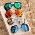 2016 Nova Chegada Dos Homens Das Mulheres óculos de Armação de Metal de Grandes Dimensões Espelhado óculos de Lente óculos de Sol Do Punk